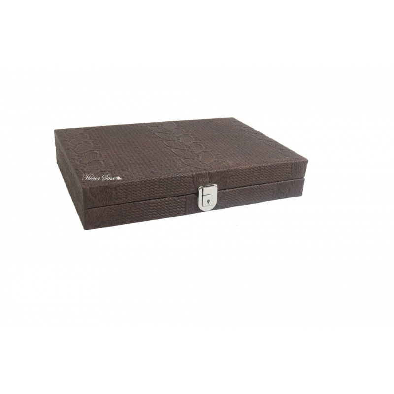 Maelle backgammon maille leather medium chocolat hector saxe paris - Pouf cuir marron chocolat ...