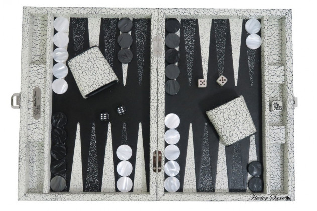 MARC - BACKGAMMON MARBLE LEATHER MEDIUM BLANC