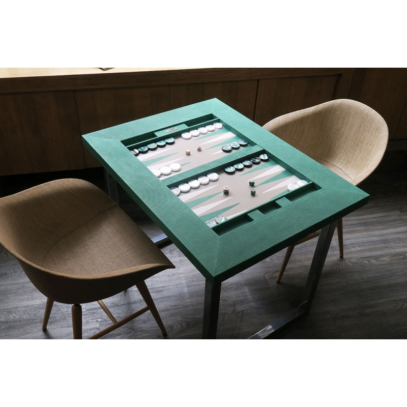 table de backgammon cuir couture turquoise hector saxe paris. Black Bedroom Furniture Sets. Home Design Ideas