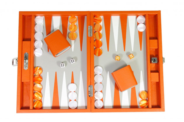 BACKGAMMON CUIR BUFFLE MEDIUM ORANGE