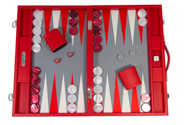 Basile - Backgammon toile buffle large Rouge