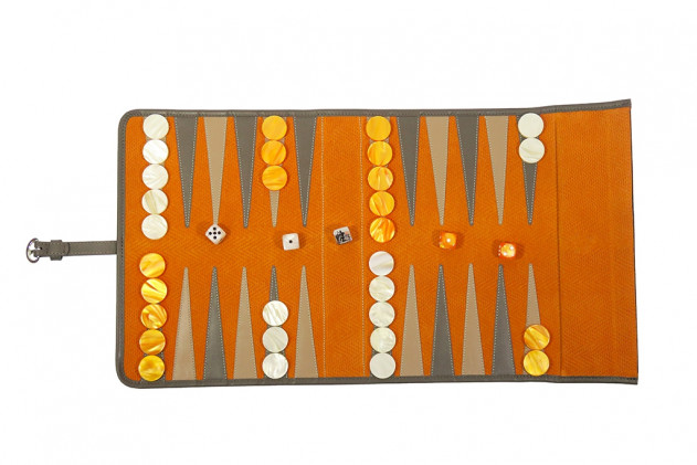 Clyde - Backgammon de voyage cuir Chevron Orange