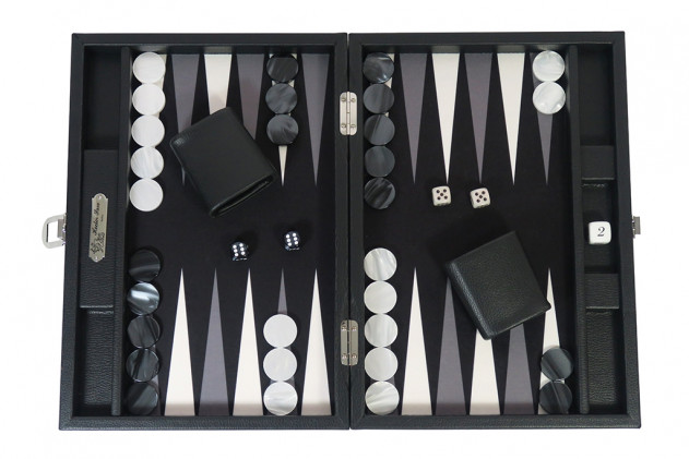Basile - Backgammon toile buffle medium Noir