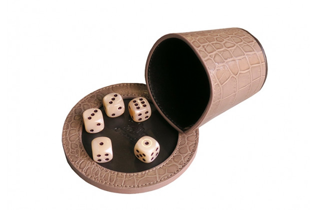 Liar's dice poker Croc-effect leather Taupe