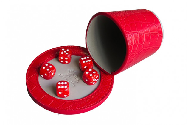 Liar's dice poker Croc-effect leather Red
