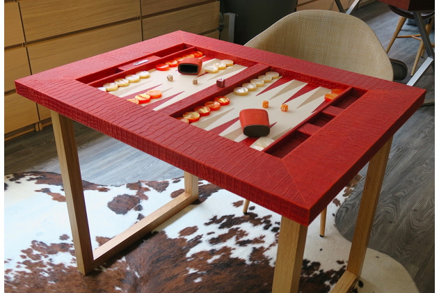 Backgammon table top Alligator effect leather Corail