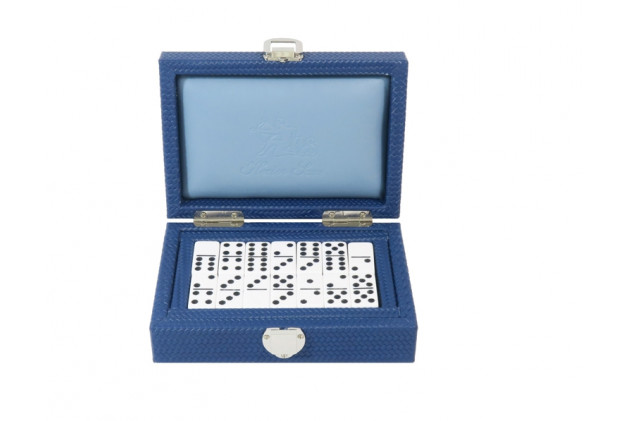 Double 6 Dominoes set Couture leather Blue