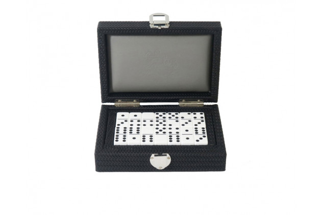 Double 6 Dominoes set Couture leather Black