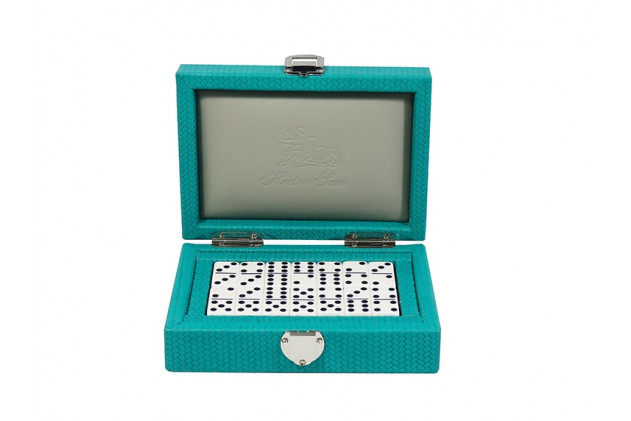 Double 6 Dominoes set Couture leather Turquoise