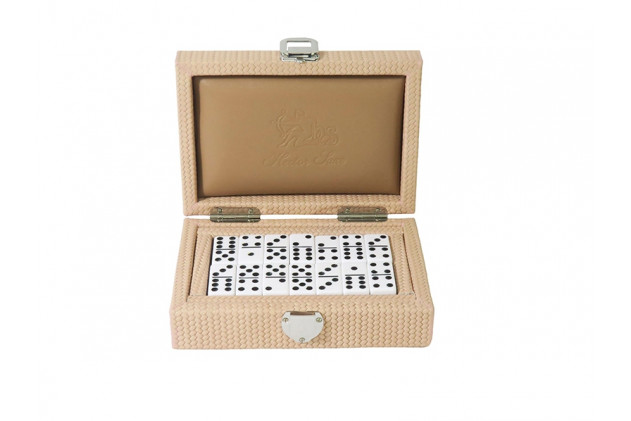 Double 6 Dominoes set Couture leather Poudre