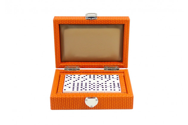 Coffret Dominos cuir Couture Orange