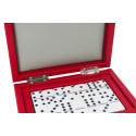 Coffret Dominos cuir Buffle Rouge