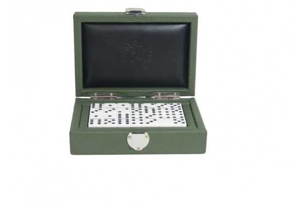 Double 6 Dominoes set Buffalo leather Almond