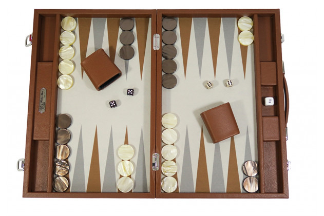 Basile - Backgammon buffalo canvas large Châtaigne