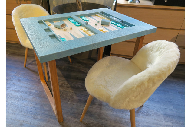 Backgammon table top Alligator effect leather Turquoise