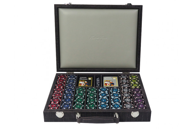 Poker set Alligator leather effect large model Petrole