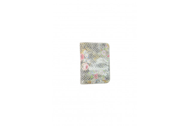 Paul - Card Holders velvet leather printed flowery python White