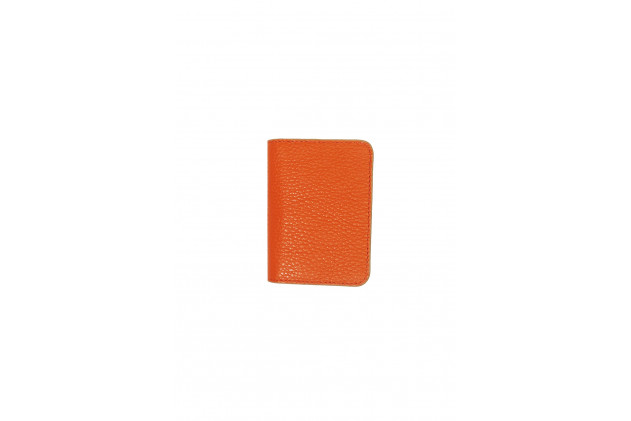 Paul - Porte cartes Cuir Buffle Orange