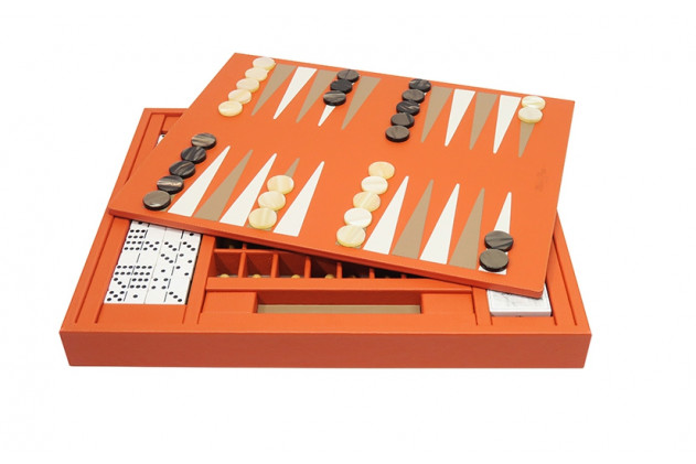 Coffret Multi-jeux cuir Buffle Orange