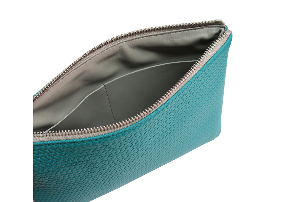 Paolina - Pochette en cuir Couture Turquoise