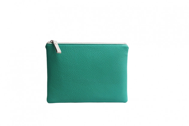 Paolina - Clutch Buffalo leather Émeraude