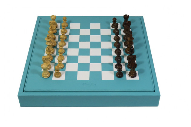 Chess box buffalo leather Turquoise