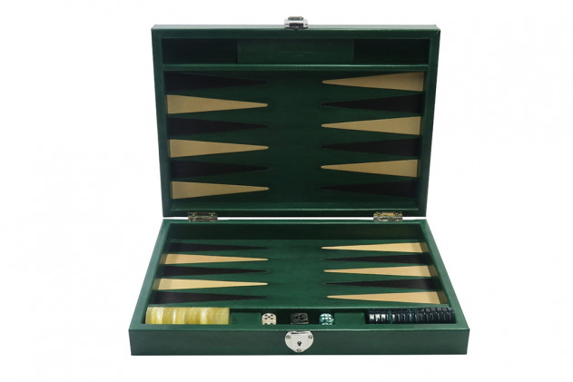 Louis - Backgammon medium patinable leather Green