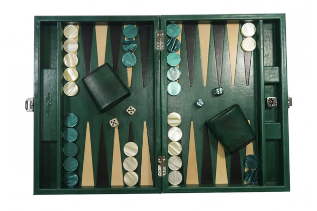 Louis - Backgammon cuir patiné medium Vert