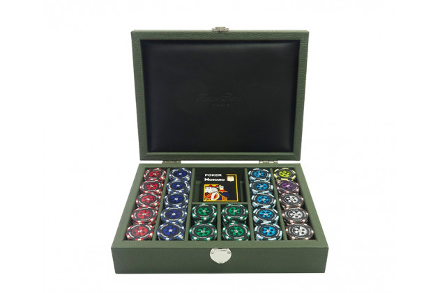 Coffret poker cuir buffle Amande