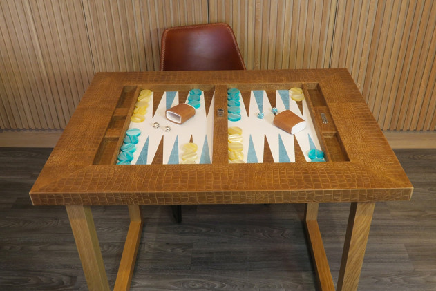 Backgammon table top Alligator effect leather Ambre
