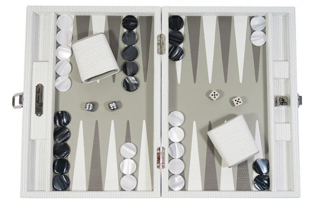 Camille - Backgammon cuir couture medium Blanc