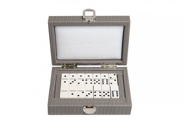 Double 6 Dominoes set Couture leather Acacia