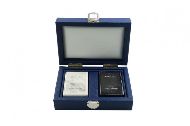 Coffret cartes cuir buffle Bleu de France