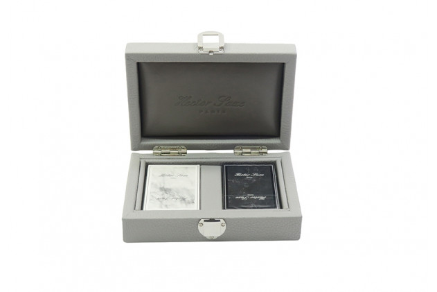 Coffret cartes cuir buffle Perle