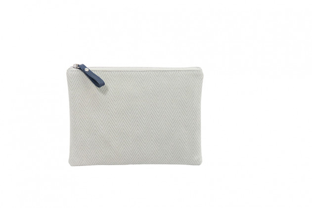 Paolina - Clutch Chevron leather Gris