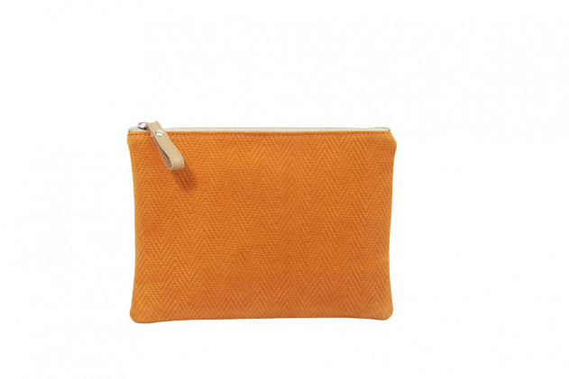Paolina - Clutch Chevron leather Orange