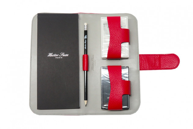 Étienne - Buffalo leather card case Red