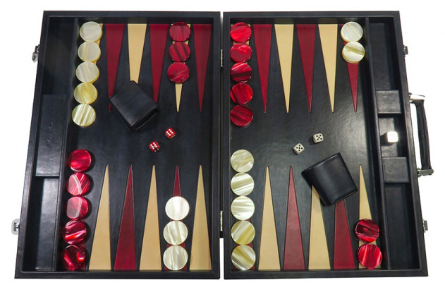 Louis - Backgammon cuir patiné compétition Anthracite