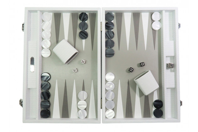 Camille - Backgammon Couture leather large White