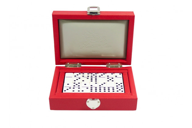 Double 6 Dominoes set Buffalo leather Red