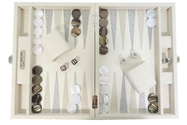 Alain - Backgammon Shagreen leather effect medium Beige