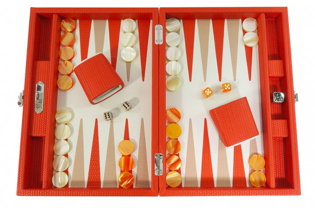 Camille - Backgammon Couture leather medium Orange
