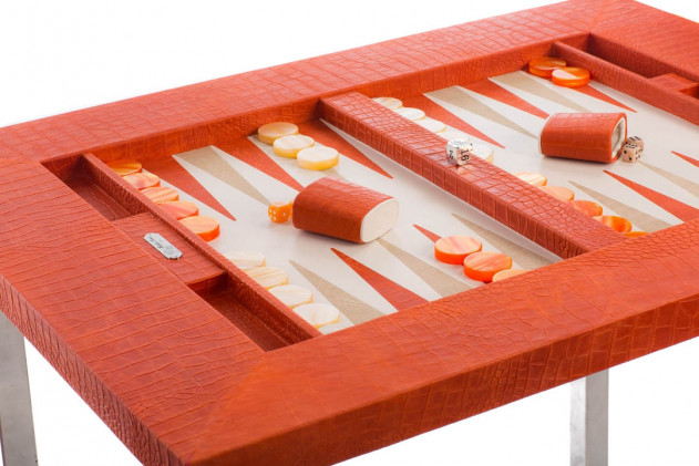 Table de backgammon cuir façon Alligator Corail