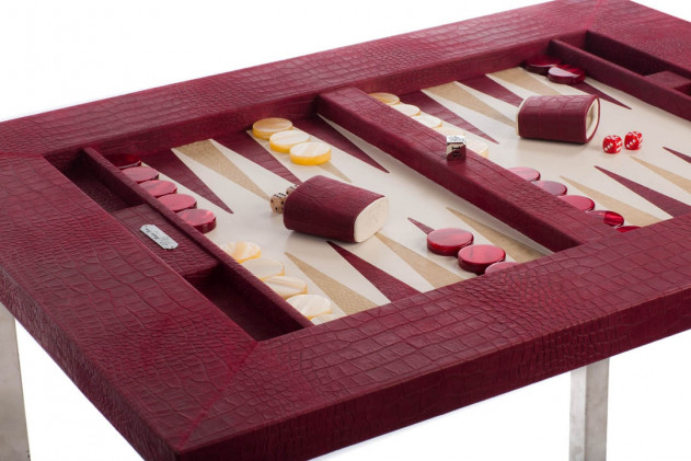 Table de backgammon cuir façon Alligator Rubis