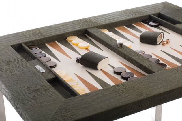 Table de backgammon cuir façon Alligator Kaki