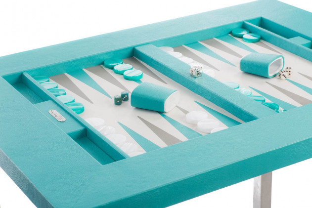 Table de backgammon cuir Buffle Bleu Turquoise
