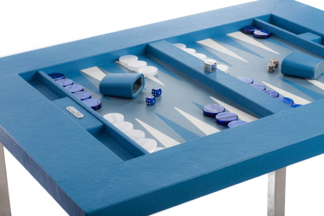 Table de backgammon cuir Buffle Bleu