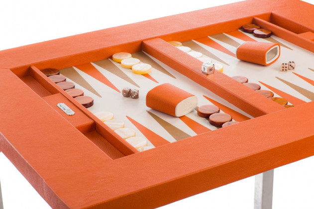 Table de backgammon cuir Buffle Bleu Orange