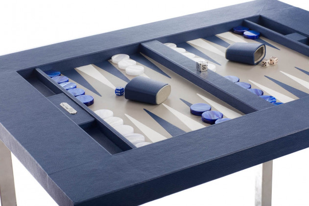 Backgammon table top Buffalo leather Bleu de France