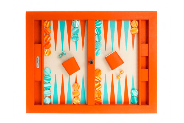 Plateau de backgammon cuir Buffle total look Orange